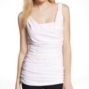 Express white ruched tank top